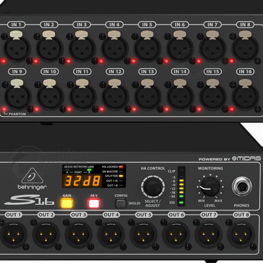 Behringer Digital Snake S16 IO multi stagebox close up