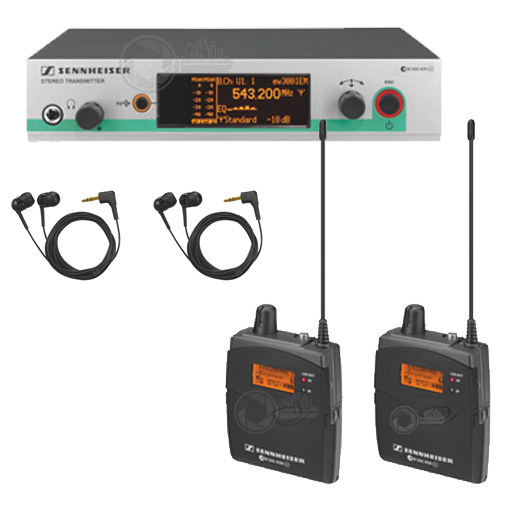 transmitter and 2 x receiver in ear headset