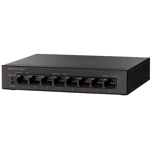 Unmanaged PoE 8-port Cisco Switch SG110D-08 links voor