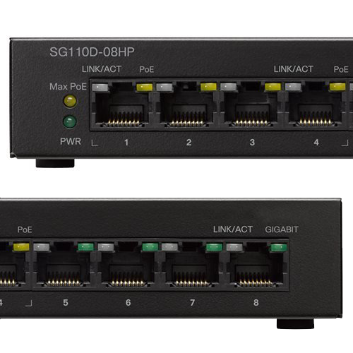 Unmanaged PoE 8-port Cisco Switch SG110D-08 close up