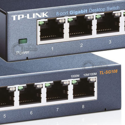 Unmanaged 8-port Gigabit switch TP-Link TL-SG108 close up